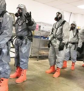 Volunteers from the Gunnison Valley Fire Department don protective suits during a weeklong hazardous materials certification class in Alabama. The group hopes to establish a hazmat team to serve the Gunnison Valley and a wide area beyond the valley. - Photo courtesy Zachary Jensen