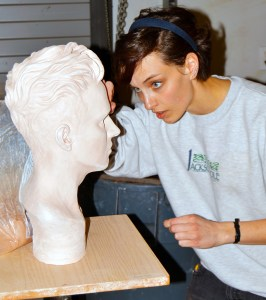 Snow art student Amanda Johansen works on her sculpture, which is nearly done. Beginning in August, Snow will offer students like Johansen a 3-year art degree called the associate of fine arts-visual studies. The degree is designed to prepare students for transfer to a bachelor of fine arts (BFA) program.