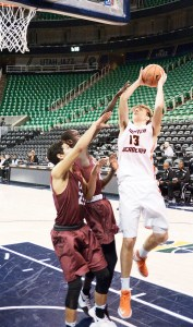 Wasatch forward Josip Vrankic drew contact aplenty in a physical game against Layton Christian Academy played at the Vivint Smart Home Arena in Salt Lake City. The oft-scoring forward was held to nine points by a tough Eagles interior defense. - Matt Harris / Messenger photo