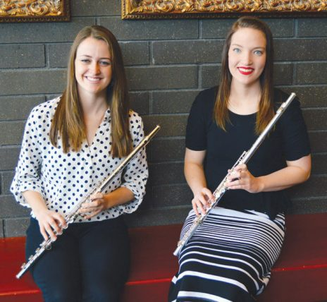 Pictured from left are Jamie Baker, of Layton, and McKenzie Howell, of Manti, two of four flutists who traveled to Salt Lake Saturday, Feb. 25 to compete in the National Flutist Association's Annual Sonata  Competition. Baker won first place, and Howell took third. Not pictured are Anna Clawson and Jennifer Richards.