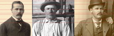"""The red lines you see intersecting these three portraits are part of a professional forensic computerized analysis method performed to compare the two outside photos (confirmed photos of outlaw Harry Longabaugh, aka """"Sundance Kid"""") with the middle photo (theorized photo of Longabaugh). This technique is one among several that led forensic photography specialist Melissa Cooper to conclude the railroad photo does contain the outlaw. Cooper used the same methods to also confirm Butch Cassidy's presence in the railroad photo."""