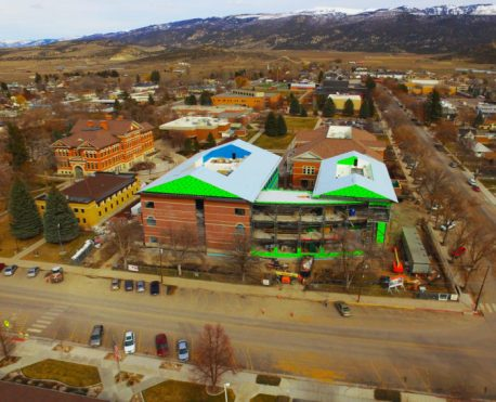Viewed from overhead, the long-awaited Robert M. and Joyce S. Graham Science Building at Snow College is progressing toward completion. The target completion date is Aug. 8.