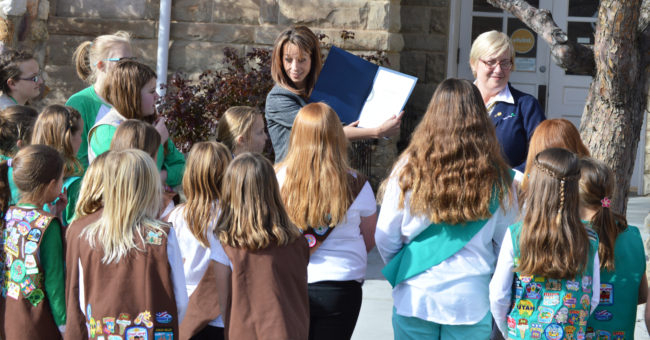 SCHOOL - Abby Cox Speaks for girl Scout week - Abby Cox with Janet Frasier and troop 856 - JAYCIE