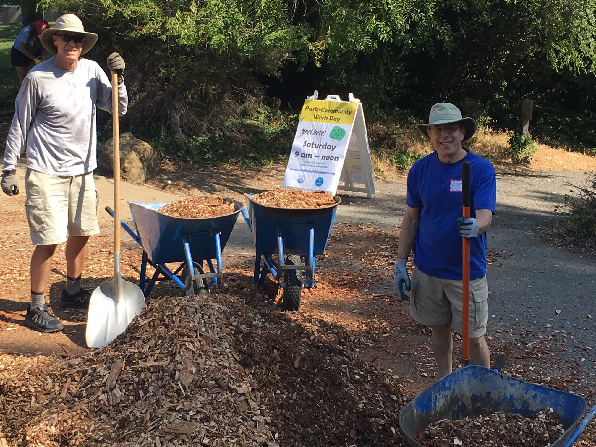 Spreading Wood Chips At Freitas Park