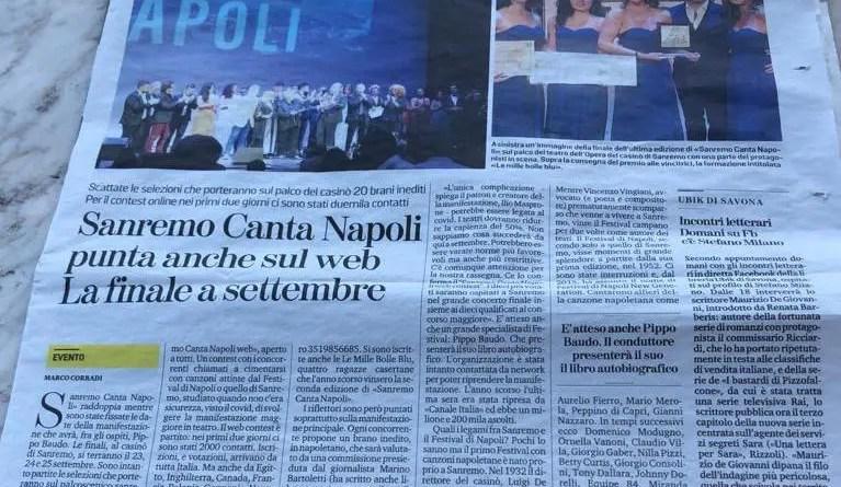Via alle iscrizioni per la terza edizione di <strong>Sanremo</strong><strong><em>Canta</em></strong><strong>Napoli.</strong>