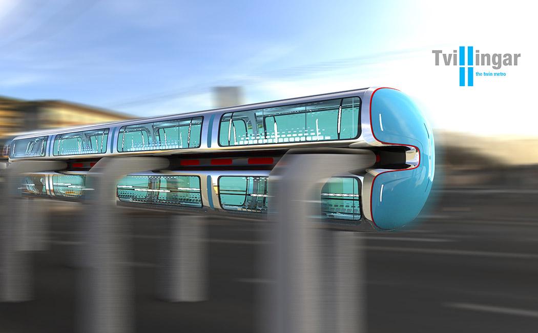 Transport Tvilingar métro jumeau du futur ? Davantage de transports du futur à découvrir sur Sansible. #sansible #futur #transport #innovation #design