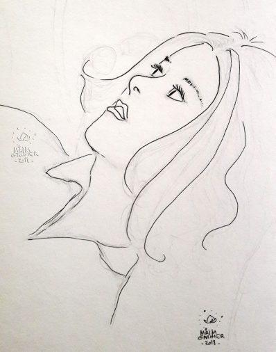 Esquisse sketchbook Flying with you, par Maïm Garnier, illustration terminée à découvrir sur Sansible. #sansible #MaimGarnier #esquisse #dessin #femme #art #feutre #encre