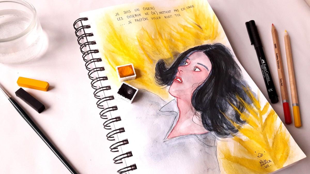 Aquarelle Voler avec toi, sketchbook illustrations