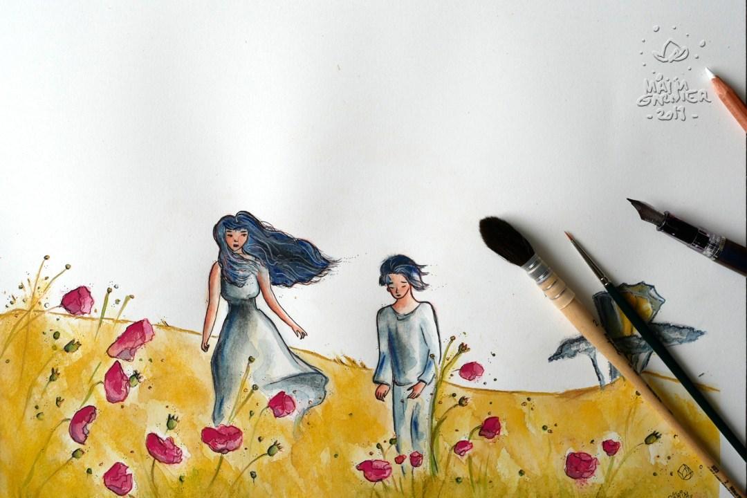 Poppies'day, art by Maïm Garnier. Ink, watercolour, pastel. Summer vibes. Le jour des coquelicots. Watch my video on ma YouTube channel. #inktober #inktober2018 #drawingchallenge #characterdesign #illustrationartists #sketches #jakeparker #watercolourartist #illustrationcharacterdesign #illustrationart #artinspiration #MaimGarnier #summerart #poppies #creativeprocess #summer #inktoberart