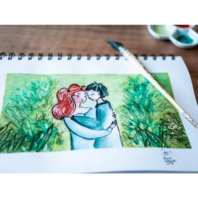 Precious, art by Maïm Garnier. Ink, watercolour and pastel. Sketchbook. #inktober #inktober2018 #drawingchallenge #characterdesign #illustrationartists #sketches #jakeparker #watercolourartist #illustrationcharacterdesign #illustrationart #artinspiration #MaimGarnier #loverspainting #creativeprocess #summer #inktoberart #precious