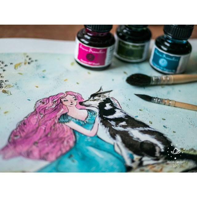 The Wolf and Aster, the woman Aster, illustration and painting by Maïm Garnier, inktober 2018. Mixed media art, ink, watercolours, posca. #inktober #inktober2018 #characterdesign #illustrationartists #watercolourartist #illustrationcharacterdesign #illustrationart #artinspiration #MaimGarnier #creativeprocess #inktoberart #wolf #woman #fall #loup #feuilles #leaves #fantasyart #nature
