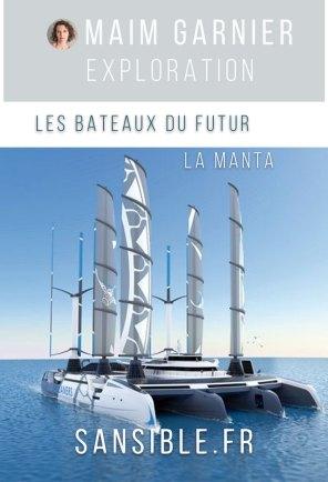 La Manta, bateau nettoyeur des océans, par Yvan Bourgnon. Davantage de bateaux du futur à découvrir sur Sansible. #sansible #bateau #futur #catamaran #ecoconception #ecodesign