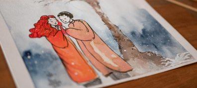 Winter song lovers' meeting, art by Maïm Garnier, more art and details to discover on Sansible. #watercolourart #illustrationartist #characterdesign #artinspiration #MaimGarnier #sansible #creativeprocess #snowart #magicwinter