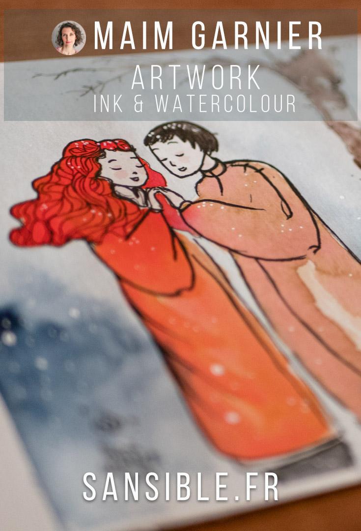 Snowing on lover's meeting, Winter song. Watercolour and ink, art by Maïm Garnier. #watercolourart #illustrationartist #characterdesign #artinspiration #MaimGarnier #sansible #creativeprocess #snowart #magicwinter #cloudyday #letitsnow