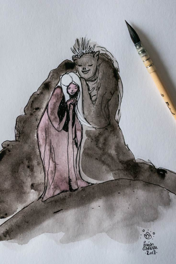 Créature des roches protecteur et jeune femme épuisée, Chants de la Terre, illustration imaginée par Maïm Garnier. Aquarelle, encre. Inktober 2018. Créature des montagnes protégeant une jeune femme. Davantage de créations à découvrir sur Sansible. #sansible #MaimGarnier #aquarelliste #mixedmedia #inktober #inktober2018 #protection #protéger #creature #monstre #montagne #rochers #dessin #artinspiration #illustrationart #creation #fantaisyart