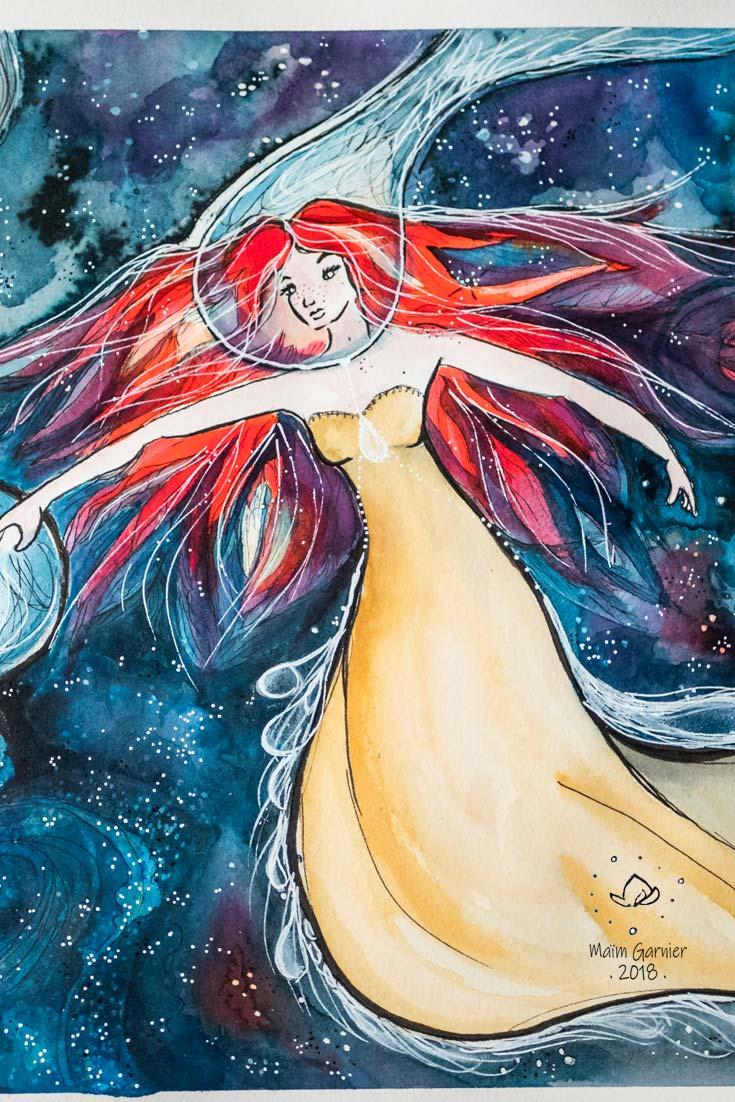 Ether, Chants de l'espace, illustration imaginée par Maïm Garnier. Aquarelle, encre, pastels, posca. Inktober 2018. Femme dans l'espace. Davantage de créations à découvrir sur Sansible. #sansible #MaimGarnier #aquarelliste #mixedmedia #inktober #inktober2018 #etoile #espace #planete #spatialart #dessin #artinspiration #illustrationart #creation #galaxie #chien #ether