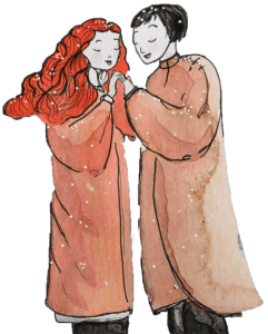 Lovers winter song art by Maïm Garnier. More to see on Sansible. #sansible #MaimGarnier #artinspiration #characterdesign #graphicart #fineart