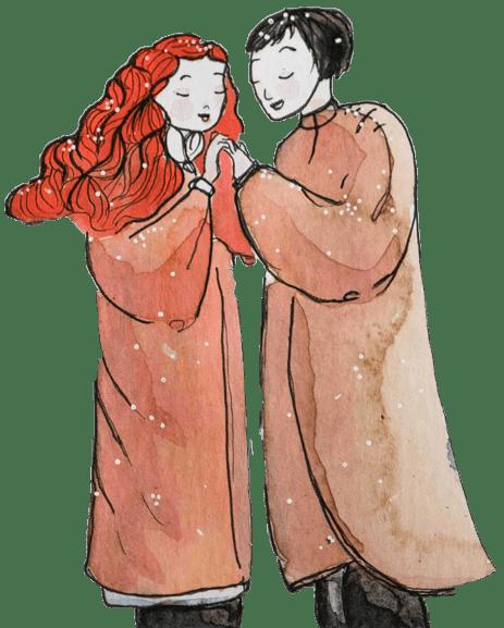 Lovers winter song art by Maïm Garnier. More to see on Sansible. #sansible #MaimGarnier #artinspiration #characterdesign #graphicart #fineart