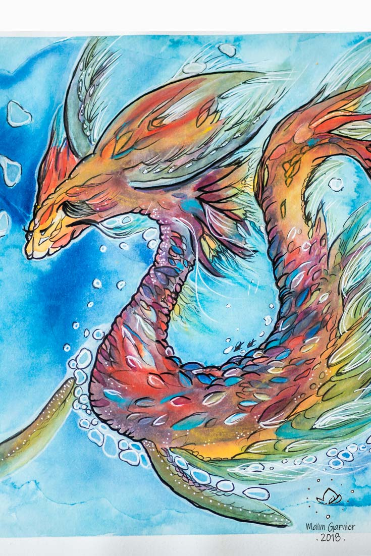 Sea Dragon, ink and watercolor painting Maïm Garnier, 2018.