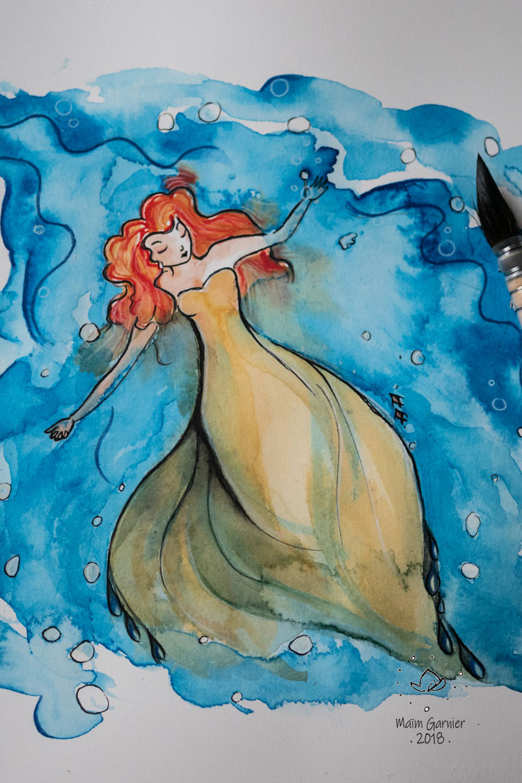 Ondulation, illustration et peinture de Maïm Garnier. Encre et aquarelle. Inktober 2018, tranquille. Femme qui flotte avec sérénité sur l'eau. #inktober #inktober2018 #characterdesign #illustrationartists # aquarelliste #illustrationcaractèredesign #illustrationart #illustrationart #artinspiration #MaimGarnier #processusdecréation #inktoberart #tranquille #flotter #nager #femme #dessin #sansible