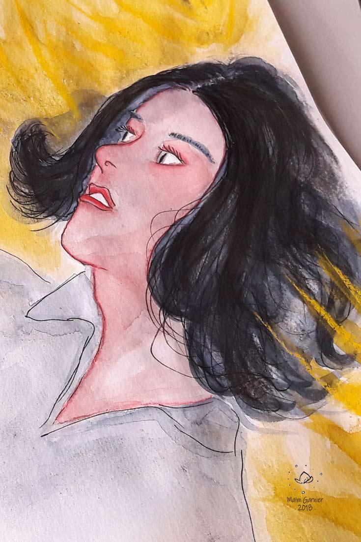 Voler avec toi, création arts graphiques de Maïm Garnier, 2018. Portrait d'une femme dans l'herbe dorée par l'été. Davantage d'illustrations et peintures à découvrir sur Sansible #sansible #MaimGarnier #aquarelliste #mixedmedia #portrait #ete #vegetal