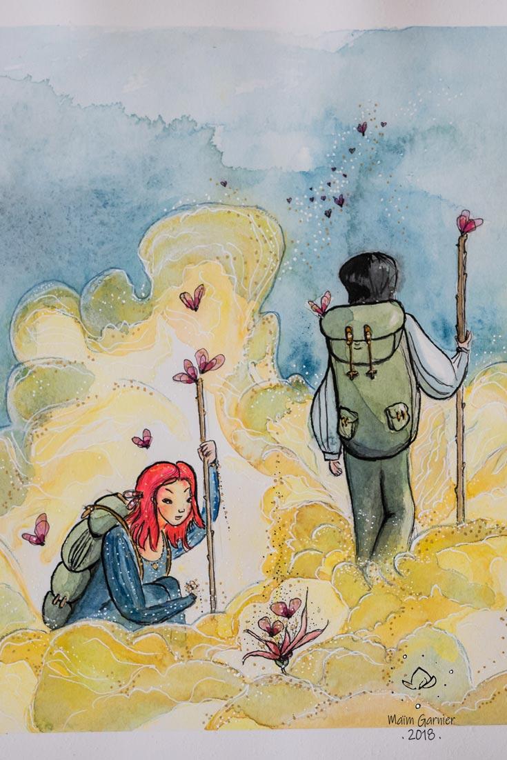 Chemin de lumière, illustration et peinture de Maïm Garnier. Encre, aquarelle, pastel et posca. Inktober 2018. Quelque part dans un de mes univers poétiques. #inktober #inktober2018 #characterdesign #illustrationartists # aquarelliste #illustrationcaractèredesign #illustrationart #illustrationart #artinspiration #MaimGarnier #processusdecréation #inktoberart #lumiere #nuage #voyage #fantasyart #papillon #fleurs #mysterieux #sansible