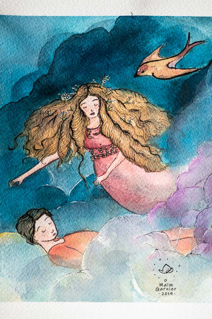 The witch Danae and Uranus asleep, watercolour paper and ink version. Art inspired by Greek mythology & imaginary worlds. Other illustrations & paintings by Maïm Garnier on Sansible. Clouds and games of transparency, delicacy and poetry. #MaimGarnier #sanible #watercolour #art #painting #illustration #artist #mythology #fantasyart #artinspiration #characterdesign