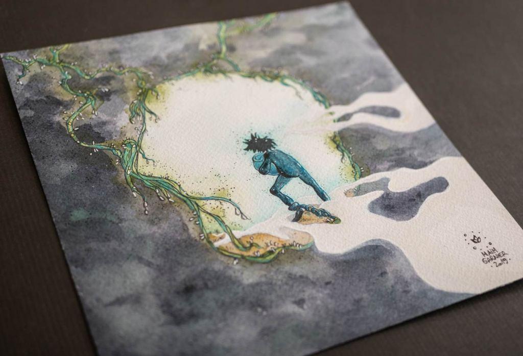 Le prisonnier, série Esperia, encre et aquarelle par Maïm Garnier, illustration d'une histoire de Dominique Poulain Nimentrix #MaimGarnier #Esperia #art #aquarelle #illustration #watercolorart #watercolorartist #underground #prisoner