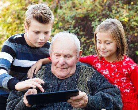grandkids helping grandfather