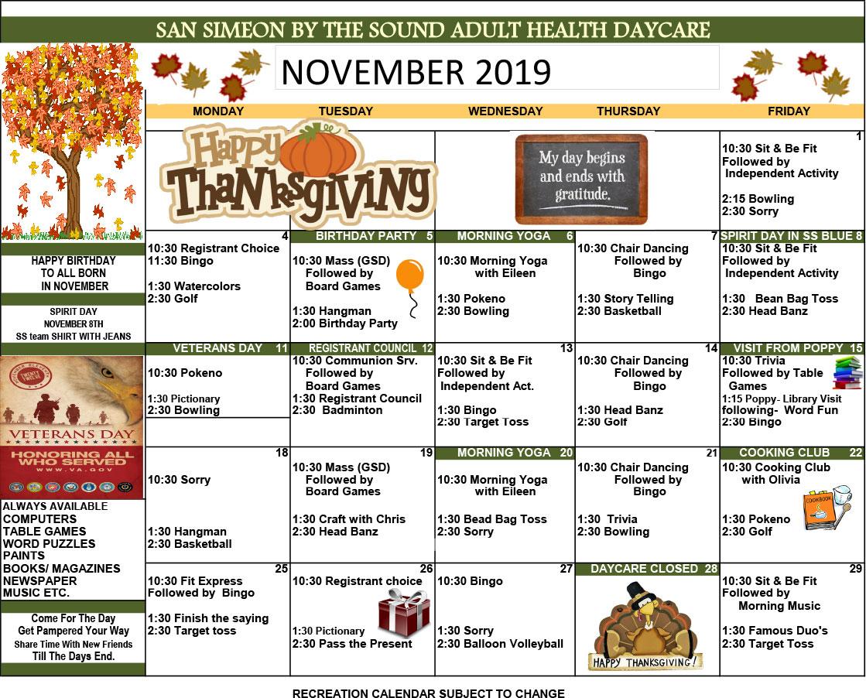 November Adult Day Care Calendar of Eve