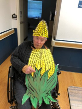 Resident dressed as an ear of corn for Halloween