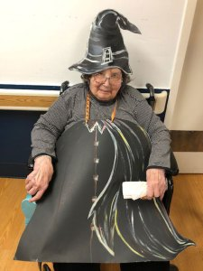 Resident dressed as a witch for Halloween