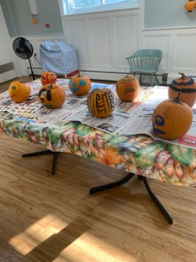 Decorated Halloween pumpkins