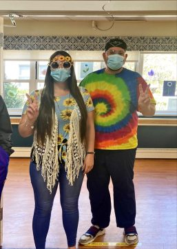 Two San Simeon staff members dressed up for Decade Day