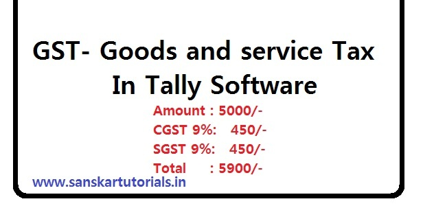 GST Goods and service Tax In Tally Software