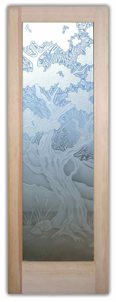 Bonsai Tree Etched In Glass Sans Soucie Art Glass