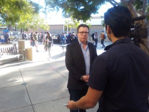 Julian Wheatland is interviewed after his keynote at UCSB's First Blockchain Summit