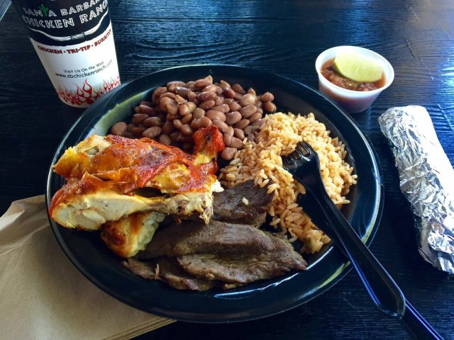Typical Plater of Chicken and Tri Tip Combo, pic by Yelp user Kristian D.