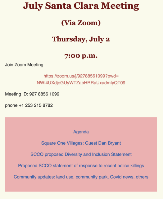 July 2 2020 Meeting announcement