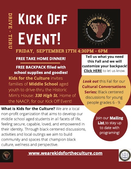 Kids for Culture kick off event flyer