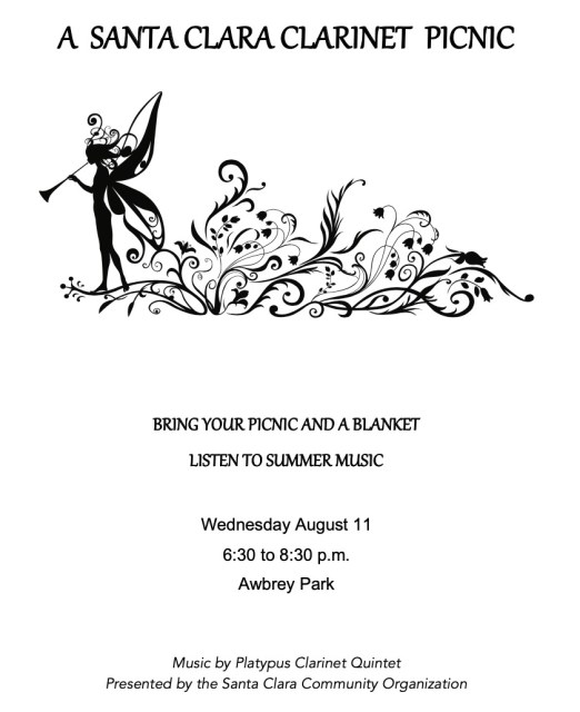 2021 Santa Clara Community Clarinet in the Park flier