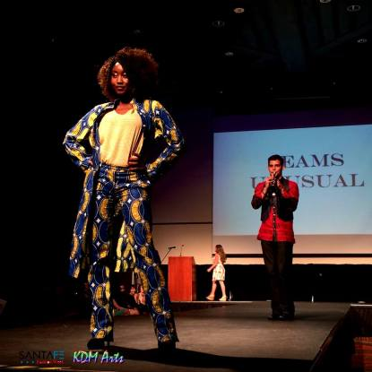 Santa Fe Community College Student Featuring her chosen Fabric for Professor Ezra Estes of Seams Unusual