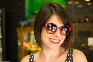 "Rachel in a 1960's inspired sunglass design, the ""Feldon"" by Barton Perreira"
