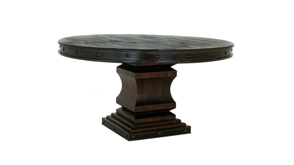 The Grand Hacienda collection is constructed from the more dense and heavy Ponderosa pine. There are numerous iron accents. Tops, backs, bottoms and drawer bottoms are solid wood. No plywood or particle board is utilized. The hinges and drawer pulls are all made of hand-forged iron  Width: 60 in Length: 60 in Height: 32 in