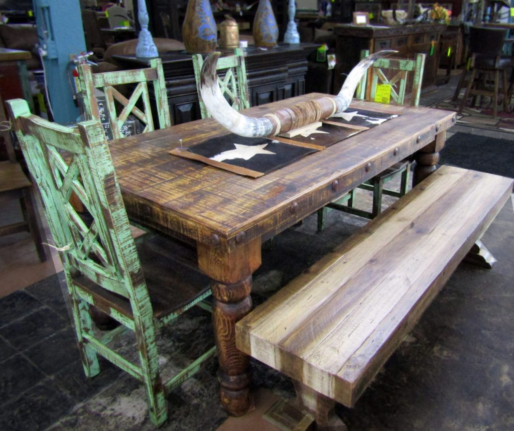 Dining Table, green chairs & bench
