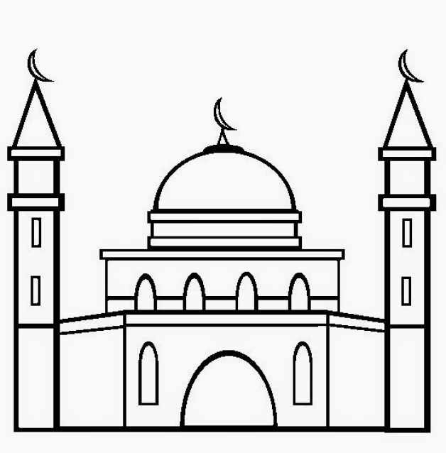 sketsa gambar masjid