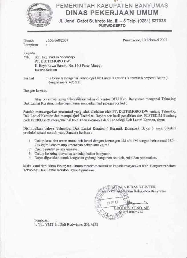 contoh surat dinas resmi pemrintah