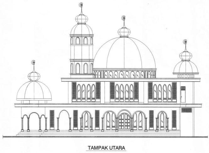 gambar sketsa masjid tampak dari utara