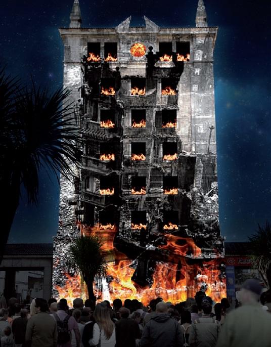 La torre de las estaciones acogerá el día 24 un vídeo mapping sobre el incendio