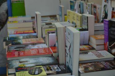 Libros expuestos en las paradas // Elisenda Colell